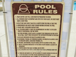 Canyon Lake Pool Rules Sign